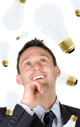 creative business man smiling with lots of ideas on his head - over a white background